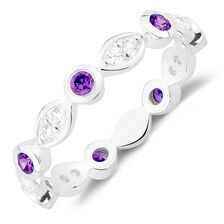 White & Purple Cubic Zirconia Stack Ring