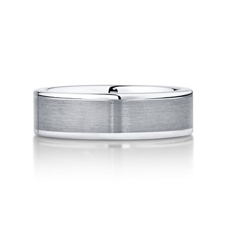 7mm Men's Wedding Band in Grey Tungsten