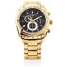 Men's Chronograph Watch with 1/2 Carat TW of Diamonds in Gold Tone Stainless Steel