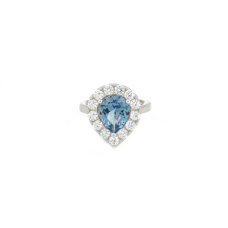 Pear Halo Ring with Blue Cubic Zirconia in Sterling Silver