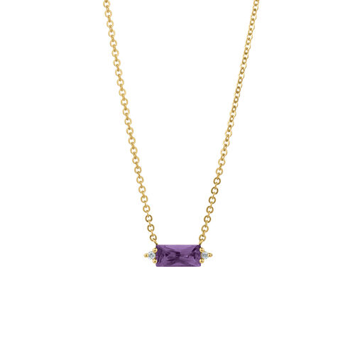 Pendant with Diamonds & Amethyst in 10ct Yellow Gold