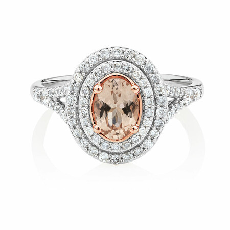 Ring with Morganite & 1/2 Carat TW of Diamonds in 10ct White Gold