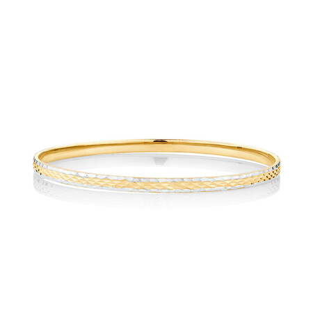 Patterned Bangle in 10ct Yellow & White Gold