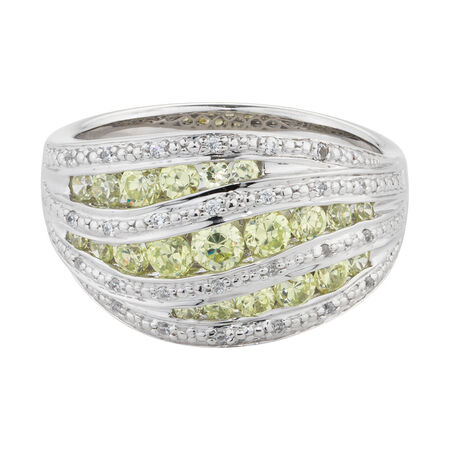 Online Exclusive - Ring with White & Green Cubic Zirconia in Sterling Silver