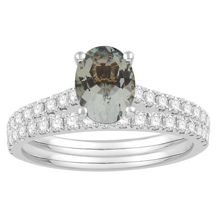 Bridal Set with Aquamarine & 0.69 Carat TW of Diamonds in 14ct White Gold