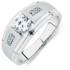 Men's Ring with Cubic Zirconias in Sterling Silver