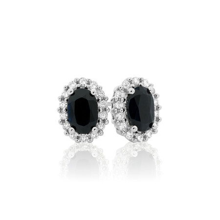 Online Exclusive - Stud Earrings with Sapphire & 0.19 Carat TW of Diamonds in 10ct White Gold