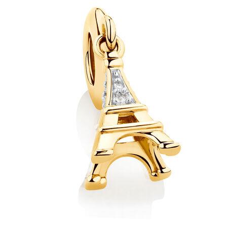 Diamond Set Eiffel Tower Dangle Charm in 10ct Yellow Gold