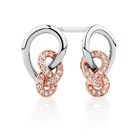 Knots Earrings with 0.16 Carat TW of Diamonds in Sterling Silver & 10ct Rose Gold