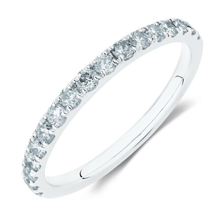 Wedding Band with 1/2 Carat TW of Diamonds in 14ct White Gold