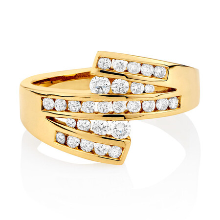 Ring with 1/2 Carat TW of Diamonds in 10ct Yellow Gold