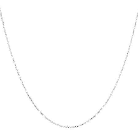 "55cm (22"") Diamond Cut Box Chain in 14ct White Gold"
