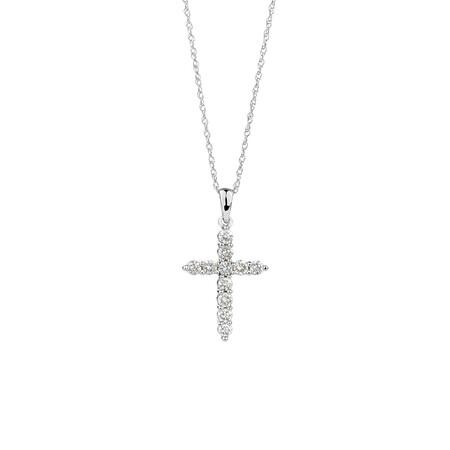 Cross Pendant with 0.34 Carat TW of Diamonds in 10ct White Gold