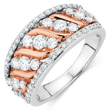 Ring with 0.95 Carat of Diamonds in 10ct White & Rose Gold