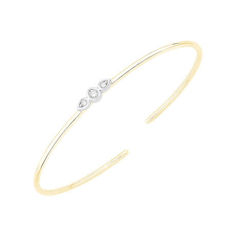 Cuff Bangle with 0.16 Carat TW of Diamonds in 10ct Yellow & White Gold