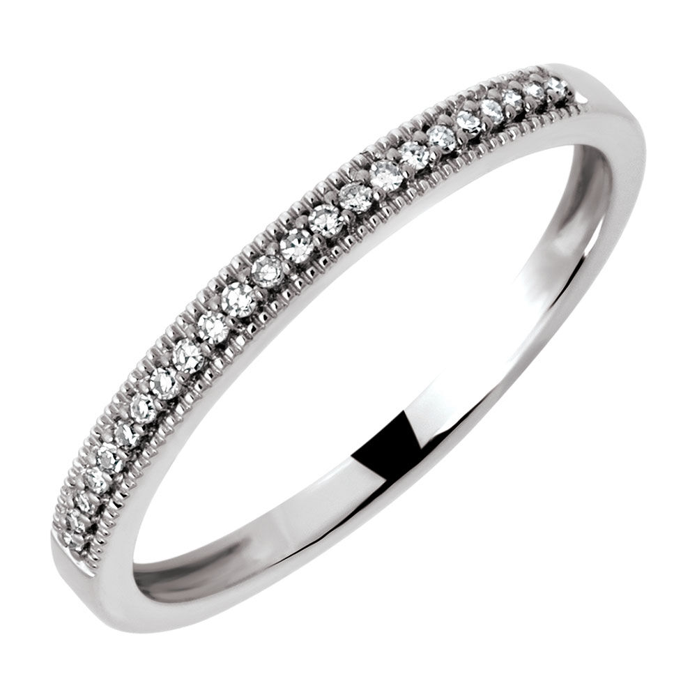 Elegant Wedding Band With Diamonds In 10ct White Gold