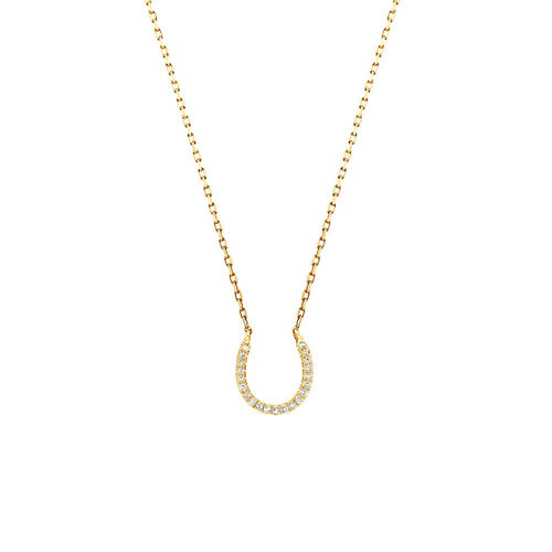 Horseshoe Pendant With Diamonds In 10ct Yellow Gold