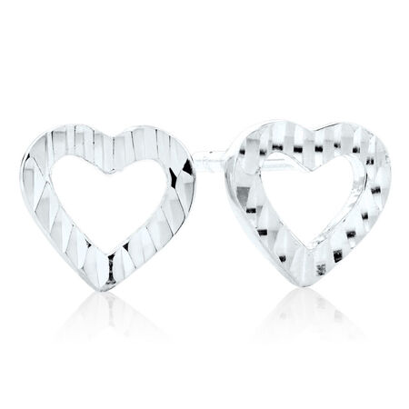 Heart Stud Earrings in 10ct White Gold