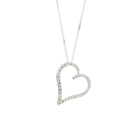 Online Exclusive - Heart Pendant with 1/4 Carat TW of Diamonds in 10ct White Gold