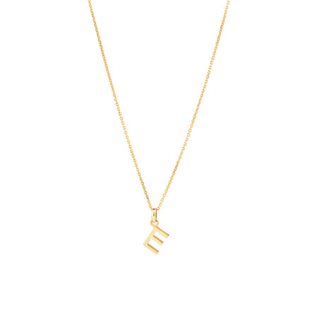 """""""E"""" Initial Pendant with Chain in 10ct Yellow Gold"""
