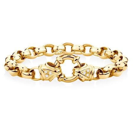 "21cm (8.5"") Diamond Set Bracelet in 10ct Yellow Gold"