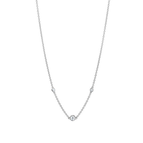 Station Necklace With 0.10 Carat TW Diamonds In Sterling Silver