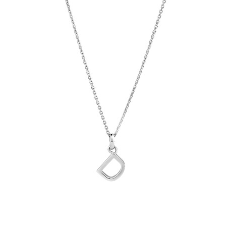 """""""D"""" Initial Pendant in Sterling Silver"""