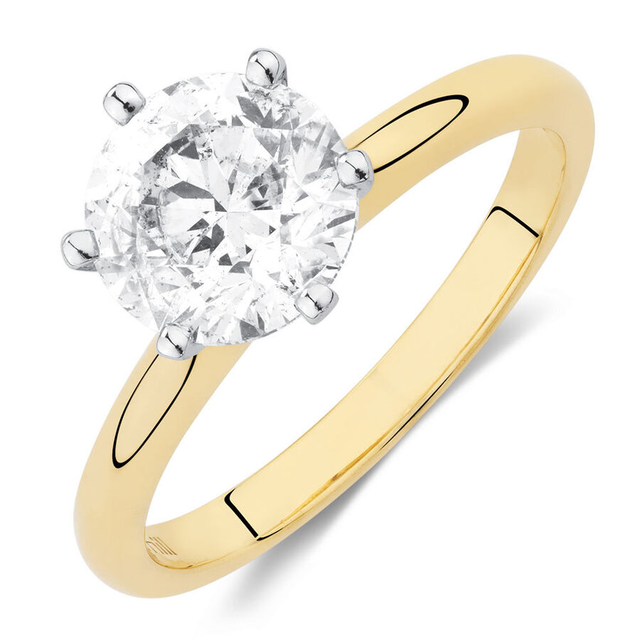 Certified Solitaire Engagement Ring with a 2 Carat Diamond in 18ct Yellow & White Gold