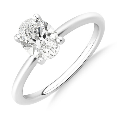 Laboratory-Created 1 Carat Oval Diamond Ring in 14ct White Gold