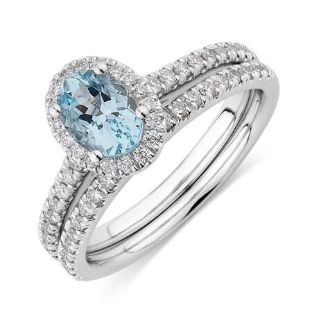 Bridal Set with 0.50 Carat TW of Diamonds & Aquamarine in 14kt White Gold