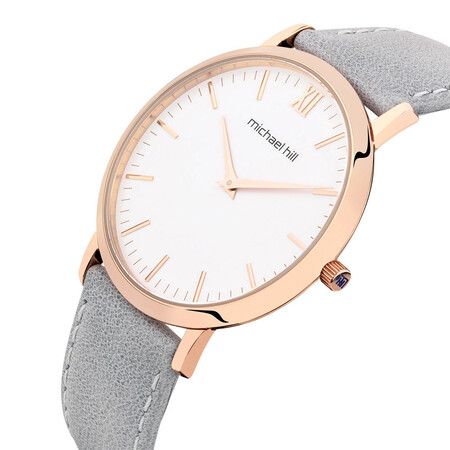 Ladies Watch in Grey Leather & Stainless Steel