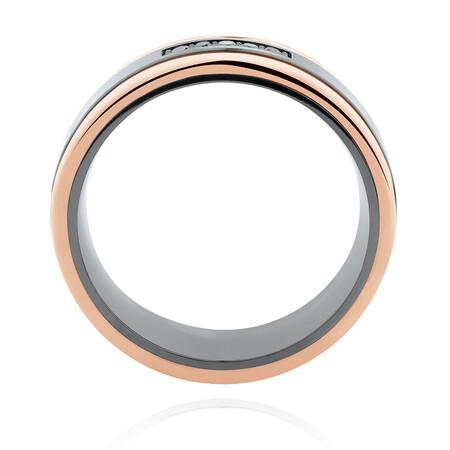 7mm Ring with Black Diamonds in Black Titanium & 10ct Rose Gold