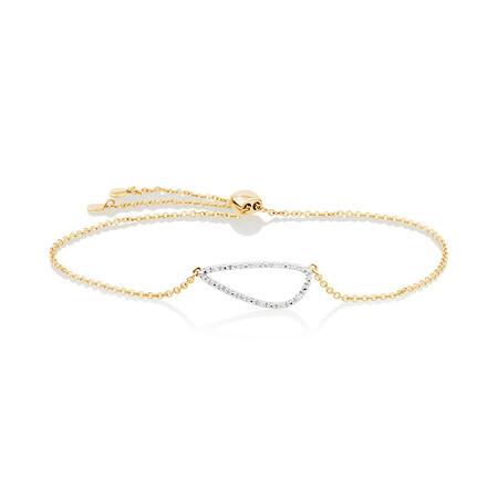 Organic Shape Adjustable Bracelet with Diamond in 10ct Yellow Gold