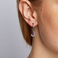 Drop Earrings with Amethyst & Diamonds in 10ct White Gold