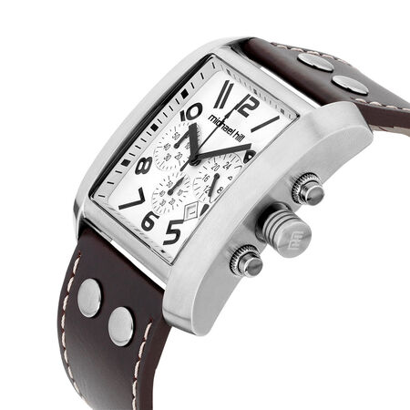 Men's Chronograph Watch in Stainless Steel & Brown Leather