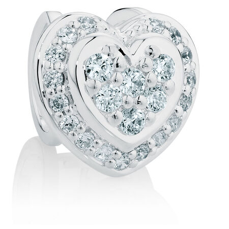 Cubic Zirconia & Sterling Silver Wild Hearts Heart Charm