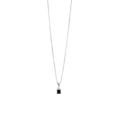 Square Pendant with Black Cubic Zirconia in Sterling Silver