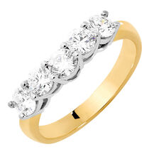 Wedding Band with 1 Carat TW of Diamonds in 18ct Yellow & White Gold