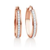 22mm Oval Glitter Hoop Earrings In 10ct Rose Gold