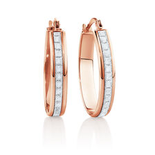 22mm Oval Glitter Hoop Earrings In 10ct Rose Gold