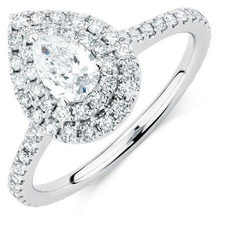 Sir Michael Hill Designer GrandArpeggio Engagement Ring with 1.21 Carat TW of Diamonds in 14ct White Gold