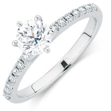 Evermore Colourless Engagement Ring with 0.86 Carat TW of Diamonds in 14ct White Gold