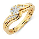 Promises of Love Bridal Set with 1/4 Carat TW of Diamonds in 10ct Yellow Gold