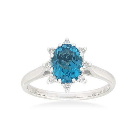 Ring with Blue Topaz & 0.10 Carat TW of Diamonds in Sterling Silver