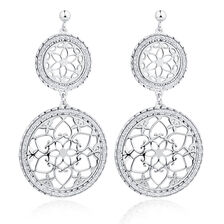 Floral Drop Earrings in Sterling Silver