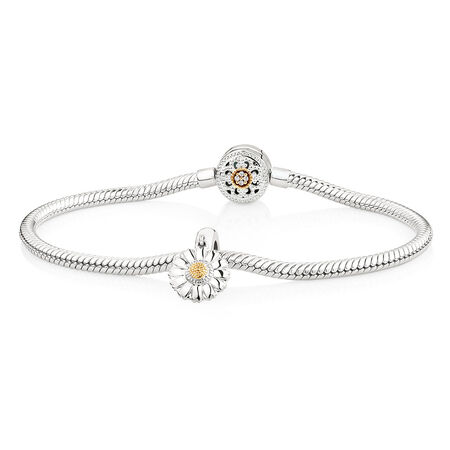 """19cm (7.5"""") Charm Bracelet with Flower Charm in 10ct Yellow Gold & Sterling Silver"""