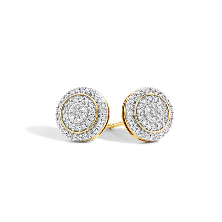 Cluster Stud Earrings with 0.25 Carat TW of Diamonds in 10ct Yellow Gold