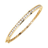 Hinged Bangle with 2 Carat TW of Diamonds in 10ct Yellow Gold