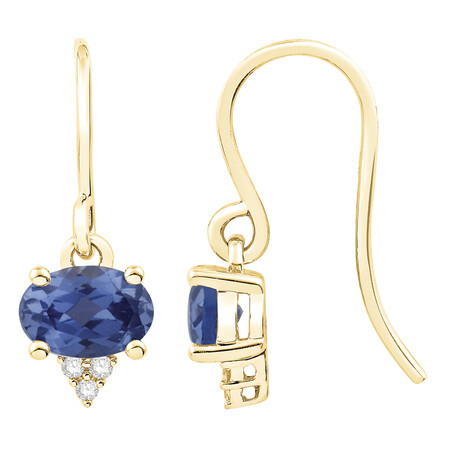 Earrings with Created Ceylon Sapphire & Diamond in 10ct Yellow Gold