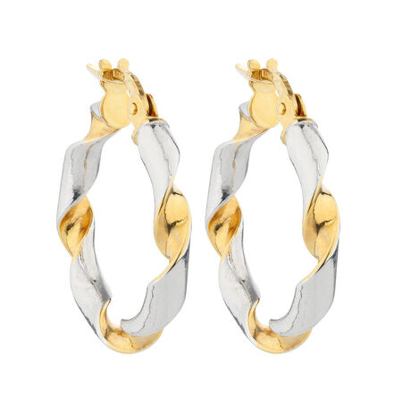 Online Exclusive - Hoop Earrings in 14ct Yellow & White Gold